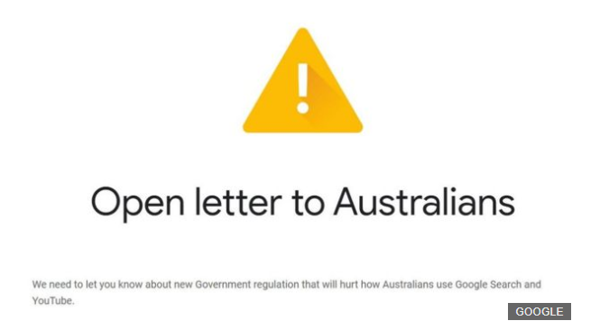 Google Warns Australian Users of Termination of Free Service Over Possible New Governmental Legislation